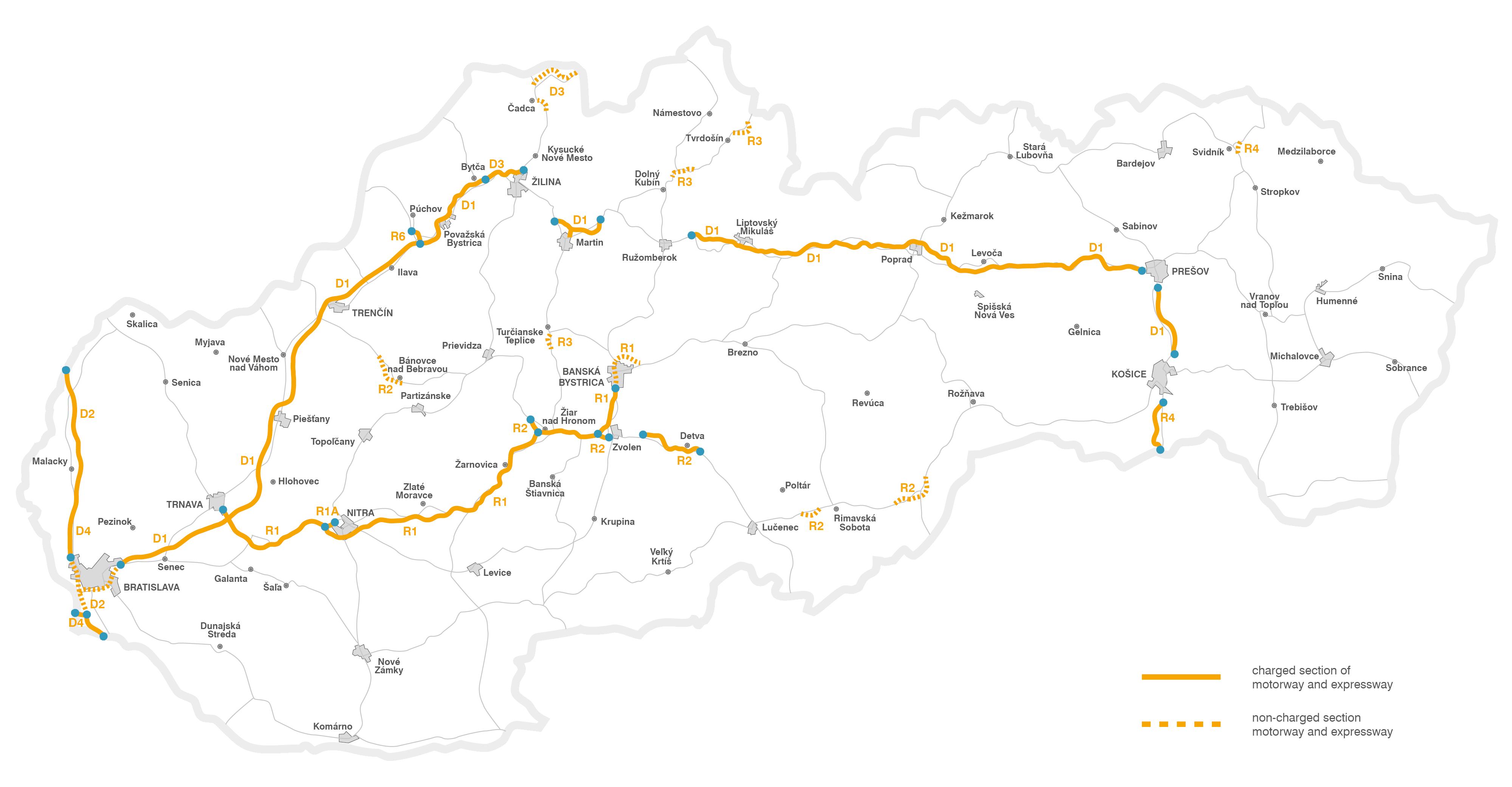 Highway vignettes Slovakia Tollseu